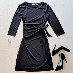 (2/$35 Deal)Long Sleeve Tie Waist Sash Black Dress